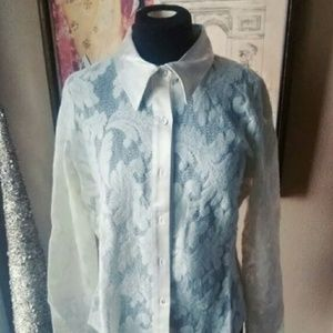 Women's Karen Kane Lace Satin Trim Blouse